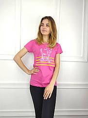 Женская футболка норма, 44-46-48рр, котик,малиновый