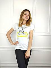 Жіноча футболка норма, 44-46-48рр, котик,білий