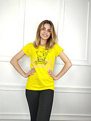 Женская футболка норма, 44-46-48рр, котик,желтый