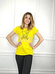 Жіноча футболка норма, 44-46-48рр, котик,жовтий