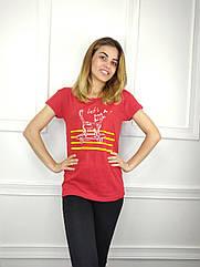 Женская футболка норма, 44-46-48рр, котик,красный