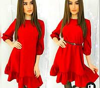 Женское весеннее платье с рукавом фонарик и рюшей. Стильное платье от производителя 42 44 46 48 50 52 модное
