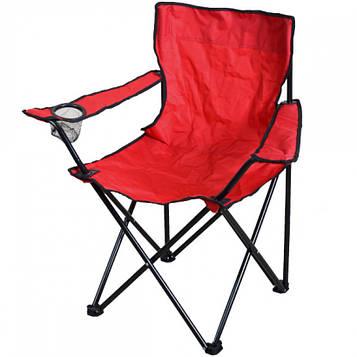 Стілець-крісло туристичний розкладний в чохлі для риболовлі, пікніка, кемпінгу 80х40х40 см кол.червоний