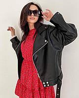 Женская  куртка  косуха  из эко-кожи (Фабричный Китай) чёрный, 42-44, 44-46