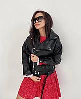 Женская  куртка  косуха  из эко-кожи (Фабричный Китай) чёрный, 42-44