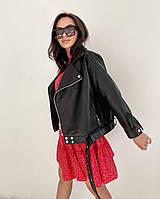 Женская  куртка  косуха  из эко-кожи (Фабричный Китай) чёрный, 44-46