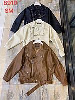 Женская  куртка  косуха  из эко-кожи (Фабричный Китай) шоколад, 42-44