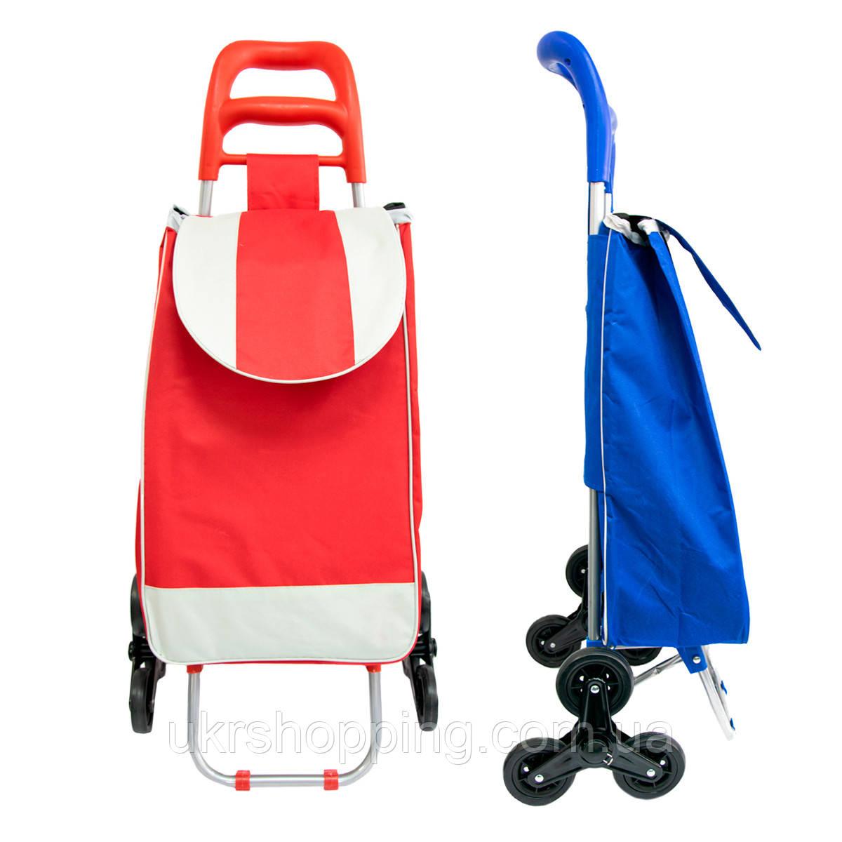 """Хозяйственная сумка на колесах """"Stenson MH-2786"""", сумка тележка с тройным колесом 95х44 см (Красная) (SH)"""