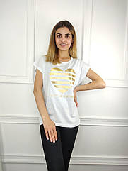 Женская футболка полубатал, 48-50-52-54рр, сердце,белый