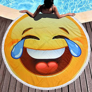 """Яскравий стильний пляжний килимок покривало кругле рушник з бахромою """"Смайлик"""", розмір 150 см"""