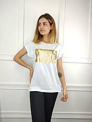 Женская футболка полубатал, 48-50-52-54рр, vogue,белый