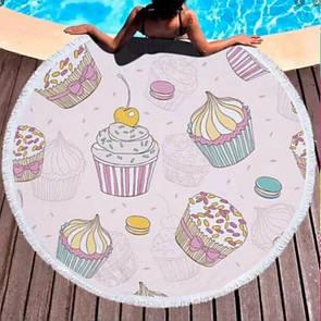 """Пляжний килимок круглий """"Булочка"""". Гарний пляжний плед підстилка 150х150"""