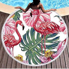 "Кругле пляжне покривало 150 см ""Tropical summer"". Крута підстилка на пляж 150х150"