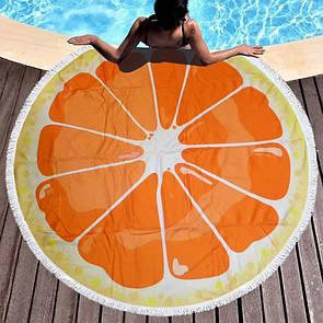 """Яскраве літнє кругле пляжний рушник підстилка з бахромою """"Апельсин"""", стильний круглий килимок на пляж"""
