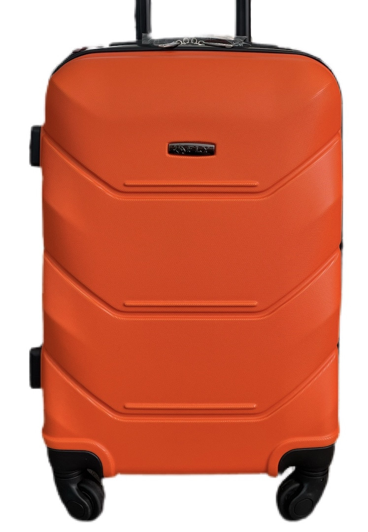 Чемодан пластиковый на 4х колесах малый S оранжевый   23х55х37 см   3.150 кг   35 л   FLY 1093