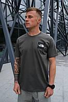 Мужская темно-серая футболка The North Face на лето хлопковая