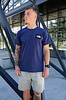 Мужская темно-синяя футболка The North Face на лето хлопковая