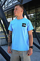 Мужская голубая футболка The North Face на лето хлопковая
