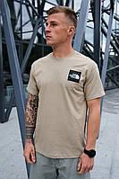 Мужская бежевая футболка The North Face на лето хлопковая
