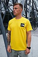 Мужская желтая футболка The North Face на лето хлопковая