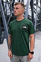 Мужская зеленая футболка The North Face на лето хлопковая