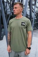 Мужская оливковая футболка The North Face на лето хлопковая