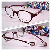 Яркая детская круглая оправа очки на силиконовом шнурке Penguin Baby 62126 красная