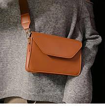 Женская мини сумочка коричневая на 1 отделение