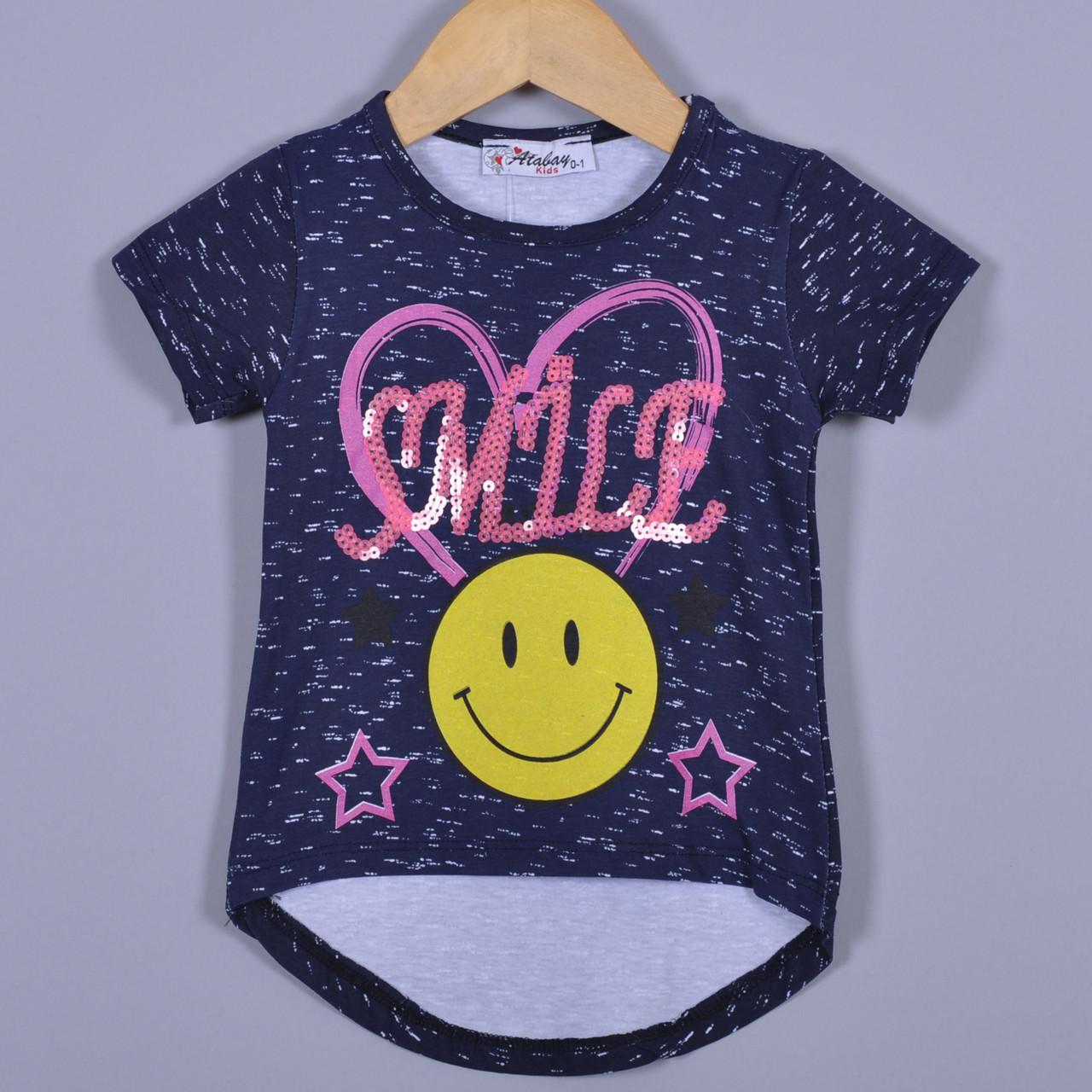"""Летняя футболка """"Smile More"""" , из трикотажа , для девочек от 0-4 лет (4 ед. в уп. ), Синий"""