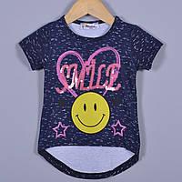 """Летняя футболка """"Smile More"""" , из трикотажа , для девочек от 0-4 лет (4 ед. в уп. ), Синий, фото 1"""