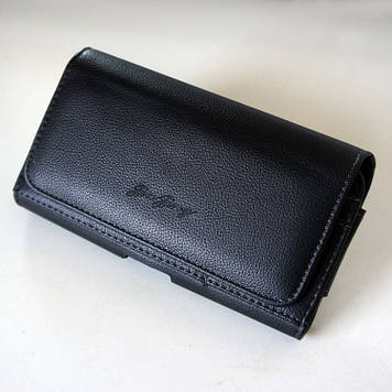 """Чехол на ремень пояс кобура поясной кожаный c карманами для Motorola E6 Plus """"RAMOS"""""""