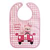 Слюнявчик непромокаемый - Мишки в машине (розовый)