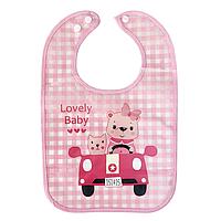 Слюнявчик непромокаемый - Мишки в машине (розовый), фото 1