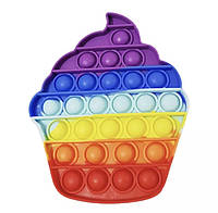 Антистресс игрушка Pop It Пирожное пупырка радуга 5009
