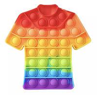 Антистресс игрушка Pop It Рубашка пупырка радуга 5010