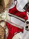 Красный женский купальник топом раздельный, Красивый модный купальник 2021 с высокой талией и посадкой, фото 6