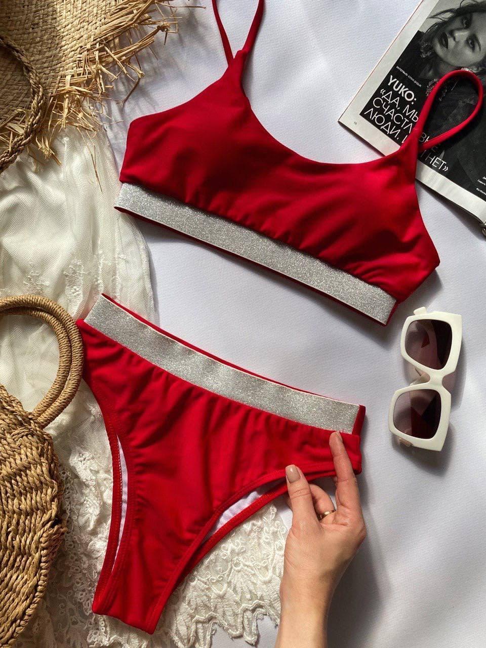 Красный женский купальник топом раздельный, Красивый модный купальник 2021 с высокой талией и посадкой