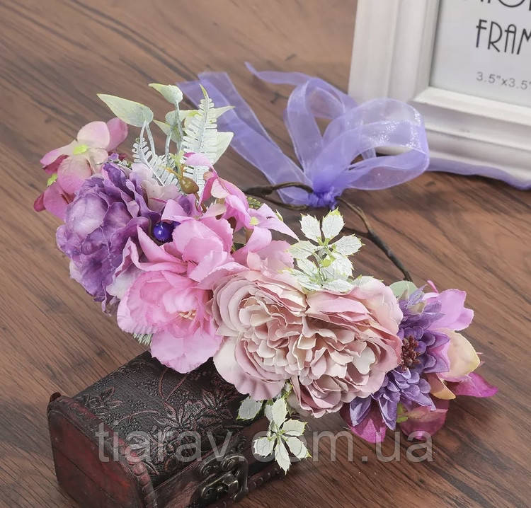 Віночок для волосся , ободок на голову вінок з квітів