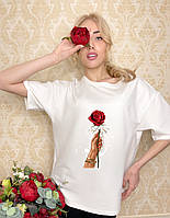 Модная белая футболка женская с принтом F-01R S Хлопок