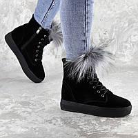 Женские зимние ботинки с мехом Fashion Katch 1404 38 размер 24 см Черный