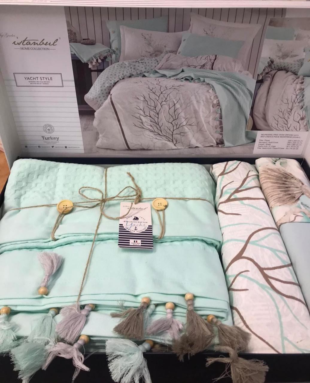 Комплект Хлопкового Постельное Белья Ранфорс C Летним Вафельным Покрывалом-Пледом Евро Размер Турция Istanbul