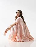 Летнее короткое платье-рубашка свободного кроя с  воротником на пуговицах  в 4 цветах в универсальном размере, фото 4