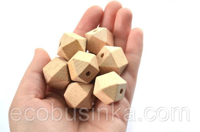 деревянный многогранник, деревянные бусины, бусины из бука, многогранник, гексагон деревянный, бусина граненая