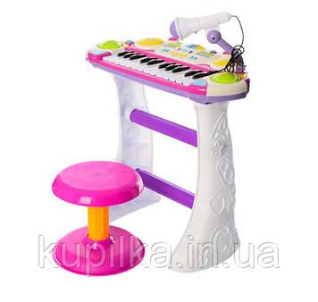Детский орган пианино со стульчиком и микрофоном Joy Toy «Я музыкант» 7235 Розовый
