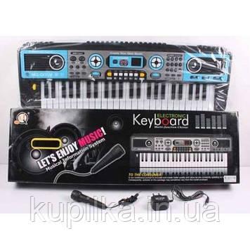 Синтезатор для детей с USB, микрофоном, MP3, демо-мелодиями MQ 017 UF, работает от сети и батареек (48 клавиш)