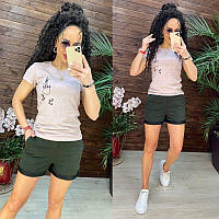 Женский легкий костюм шорты и футболка, S/M/L/XL, цвет пудра и хаки, фото 1