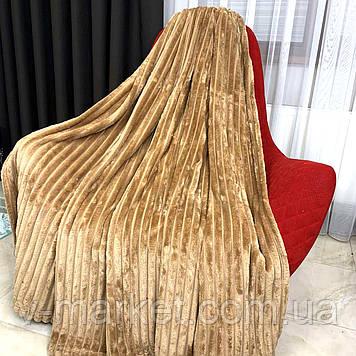 """Плед покрывало песок полоса """"Шарпей"""" евро размер, 200/220 см"""