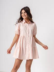 Летнее короткое платье-рубашка на пуговицах свободного кроя с  воротником в 3 цветах в размере S, М, L
