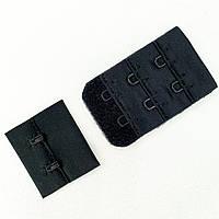 Подовжувач спинки бюстгальтера 2 гачка. Застібка бюстгальтера. Колір чорний (20шт)