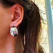 Срібні сережки кільця широкі - Широкі сережки конго срібло - Сережки без каменів срібні, фото 3